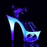 Azul 18 cm MOON-708MER Neon plataforma sandalias de tacón alto