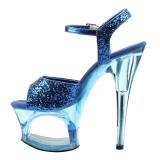 Azul 18 cm MOON-710GT brillo plataforma sandalias de tacón alto