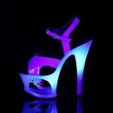 Azul 18 cm MOON-711MER Neon plataforma sandalias de tacón alto