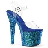 Azul 18 cm RADIANT-708LG brillo sandalias de tacón alto