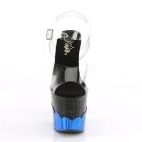 Azul 18 cm SCALLOP-708-2HGM Holograma plataforma sandalias de tacón alto
