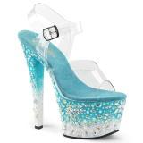 Azul 18 cm SKY-308FISH plataforma zapatos de tacón con piedras