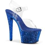 Azul 18 cm SKY-308LG brillo plataforma sandalias de tacón alto