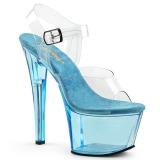 Azul 18 cm SKY-308T Acrilico plataforma sandalias de tacón alto