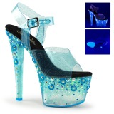 Azul 18 cm SKY-308UVMG Neon Acrilico Plataforma Sandalias Tacon Mujer
