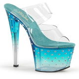 Azul 18 cm STARDUST-702T Piedras strass plataforma zuecos mujer
