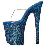Azul 20 cm FLAMINGO-801LG brillo plataforma zuecos tacón mujer