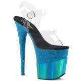 Azul 20 cm FLAMINGO-808-2HGM brillo plataforma sandalias de tacón alto