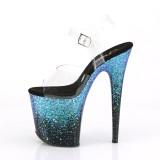 Azul 20 cm FLAMINGO-808SS brillo plataforma sandalias de tacón alto