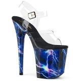 Azul 20 cm FLAMINGO-808STORM Holograma plataforma sandalias de tacón alto