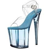 Azul 20 cm FLAMINGO-808T Acrilico Plataforma Sandalias Tacón Mujer