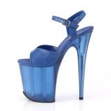 Azul 20 cm FLAMINGO-809T Acrilico plataforma sandalias de tacón alto
