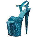 Azul 20 cm FLAMINGO-810LG brillo plataforma sandalias de tacón alto