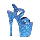 Azul 20 cm FLAMINGO-897LG brillo plataforma sandalias de tacón alto
