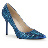 Azul Brillo 10 cm CLASSIQUE-20 Stiletto Zapatos Tacon de Aguja