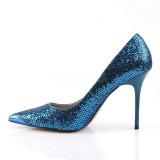 Azul Brillo 10 cm CLASSIQUE-20 Stiletto Zapatos Tacón de Aguja