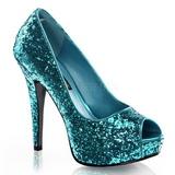 Azul Brillo 13,5 cm TWINKLE-18G Plataforma Zapato de Sal�n Peep Toe