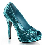 Azul Brillo 13,5 cm TWINKLE-18G Plataforma Zapatos de Salón Peep Toe