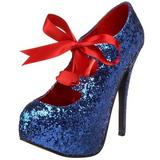 Azul Brillo 14,5 cm Burlesque TEEZE-10G Platform Calzado de Salón