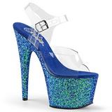 Azul Brillo 17 cm ADORE-708LG Plataforma Zapatos de Tacon Alto