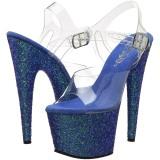 Azul Brillo 17 cm ADORE-708LG Plataforma Zapatos de Tacón Alto
