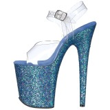 Azul Brillo 20 cm FLAMINGO-808LG Plataforma Zapatos de Tacón Alto
