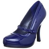 Azul Charol 12 cm CUTIEPIE-02 Calzado de Salón Planos Tacón
