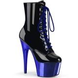 Azul Charol 18 cm ADORE-1020 botines mujer con plataforma cromo