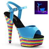 Azul Lacado 15 cm DELIGHT-609RBS Sandalias Mujer Plataforma Neon