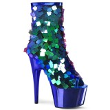 Azul Lentejuelas 18 cm ADORE-1031SSQ botines pleaser con plataforma