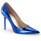 Azul Metálico 10 cm CLASSIQUE-20 Stiletto Zapatos Tacón de Aguja