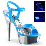 Azul Neon 15 cm DELIGHT-609NC Sandalias Mujer Plataforma Cromo