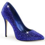 Azul Piedras Strass 13 cm AMUSE-20RS Zapato de Sal�n