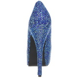 Azul Piedras Strass 14,5 cm Burlesque TEEZE-06R Plataforma Zapato Salón