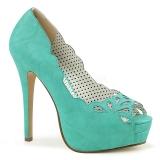 Azul Polipiel 13,5 cm BELLA-30 zapatos de salón punta abierta