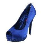 Azul Satinado 13,5 cm BELLA-12R Strass Plataforma Zapato Salón
