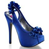 Azul Satinado 14,5 cm TEEZE-56 Zapatos de Tacon Alto