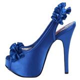 Azul Satinado 14,5 cm TEEZE-56 Zapatos de Tacón Alto