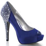 Azul Strass 13 cm LOLITA-08 Zapato Salón de Noche con Tacon