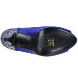 Azul Strass 13 cm LOLITA-08 Zapato Salón de Noche con Tacón