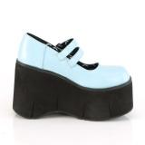 Azul Vegano 11,5 cm DEMONIA KERA-08 zapatos de salón mary jane plataforma