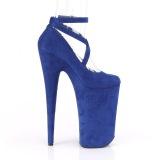 Azul vegano suede 25,5 cm BEYOND-087FS zapatos de salón plataforma tacones extremos