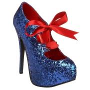 Azules Brillo 14,5 cm TEEZE-10G Concealed burlesque zapatos puntiagudos tacón de aguja