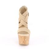 Banda marron 16,5 cm BEAU-669 sandalias en cuña de corcho