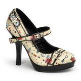 Beige 12 cm PINUP SECRET-14 Mary Jane Zapato de Sal�n