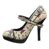 Beige 12 cm PINUP SECRET-14 Mary Jane Zapatos de Salón