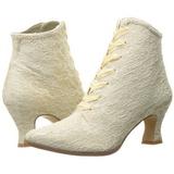 Beige 12 cm VICTORIAN-30 Botines de Cordones Altos Mujer