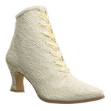 Beige 12 cm VICTORIAN-30 Lace Up Ankle Calf Women Boots