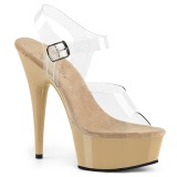 Beige 15 cm Pleaser DELIGHT-608 Tacones Altos Plataforma