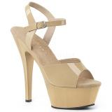 Beige 15 cm Pleaser KISS-209 sandalias de tacón alto